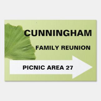 Gingko Leaf Reunion Directional Sign