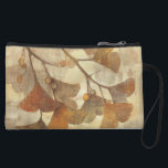 """Gingko Wristlet Wallet<br><div class=""""desc"""">&#169; Albena Hristova / Wild Apple.  An image of brown leaves and its branch. The background is in shades of brown and tan.</div>"""