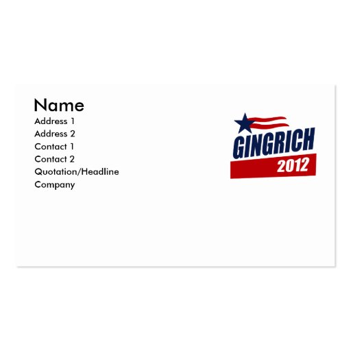 GINGRICH 2012 CAMPAIGN BANNER BUSINESS CARDS