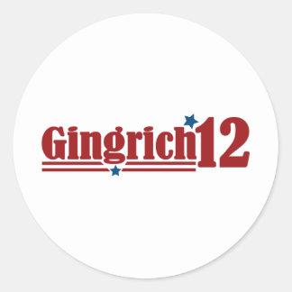 Gingrich 2012 pegatinas redondas