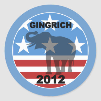 Gingrich 2012 etiquetas redondas