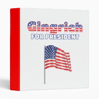Gingrich for President Patriotic American Flag Vinyl Binders