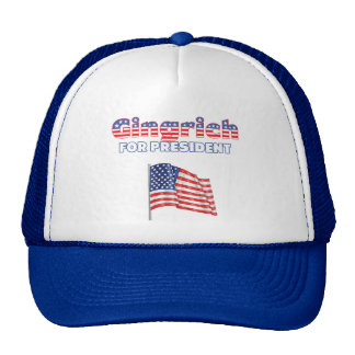 Gingrich for President Patriotic American Flag Trucker Hat