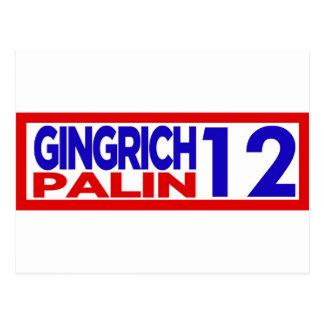 Gingrich Palin en 2012 Tarjetas Postales