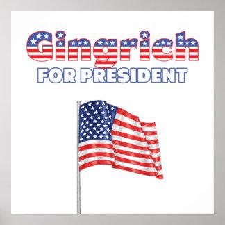 Gingrich para la bandera americana de presidente P Poster