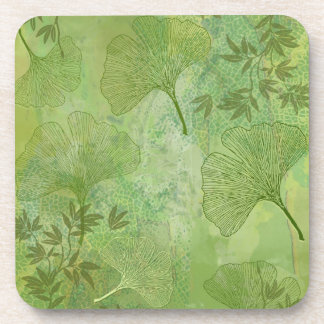 Ginkgo and Bamboo Leaves - Green Colors Beverage Coaster
