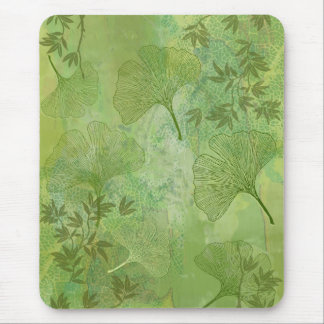 Ginkgo and Bamboo Leaves - Green Colors Mouse Pad