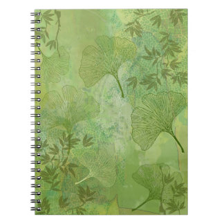 Ginkgo and Bamboo Leaves - Green Colors Spiral Notebook
