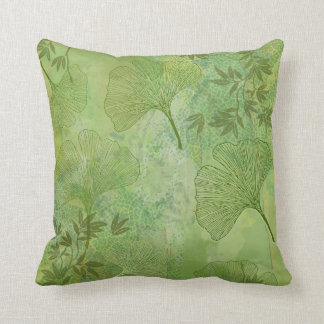 Ginkgo and Bamboo Leaves Pattern in Green Pillow