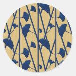 ginkgo azul pegatina redonda