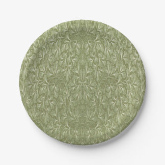 Ginkgo biloba leaf on Avocado green Paper Plate