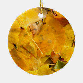 Ginkgo Biloba leaves Ceramic Ornament