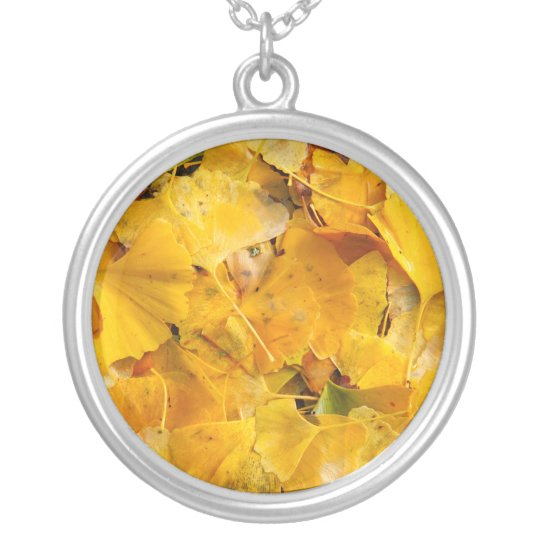 Ginkgo Biloba leaves Silver Plated Necklace