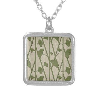ginkgo biloba silver plated necklace