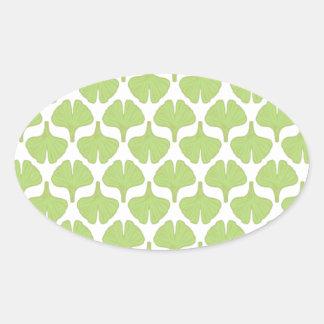 Ginkgo leaf field oval stickers