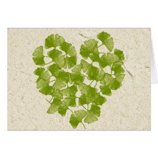 Ginkgo Leaf Heart Card