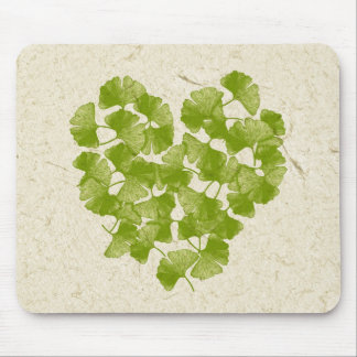 Ginkgo Leaf Heart Mouse Pad