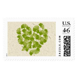 Ginkgo Leaf Heart Postage Stamps