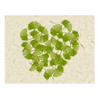 Ginkgo Leaf Heart Post Card
