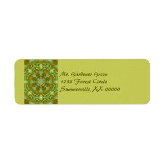Ginkgo Leaf Kaleidoscope Mandala Label