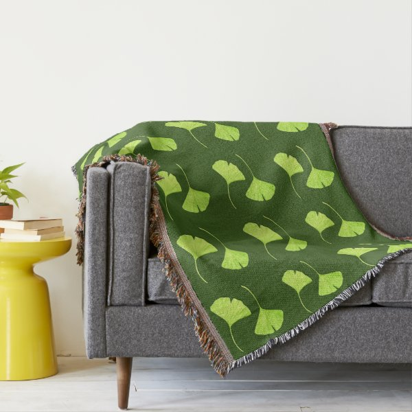 Ginkgo Leaves Botanical Art Throw