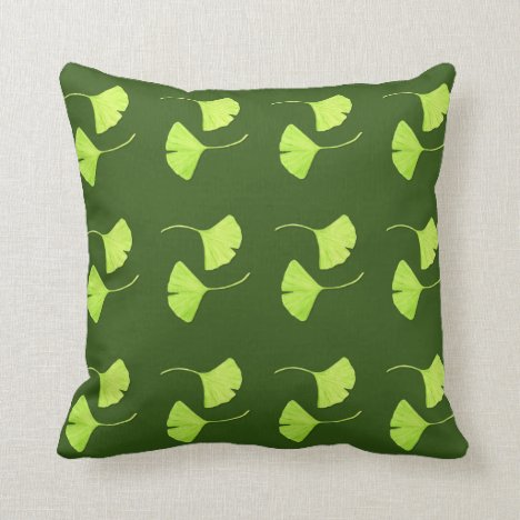 Ginkgo Leaves Botanical Art Throw Pillow