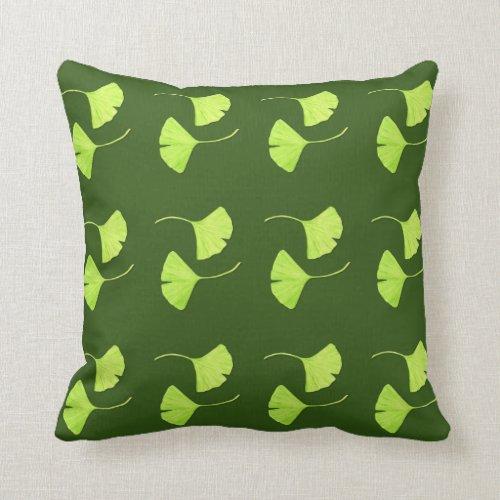 Ginkgo Leaves Botanical Art Throw Pillow