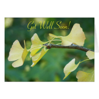 Ginkgo Leaves Floral Get Well Card