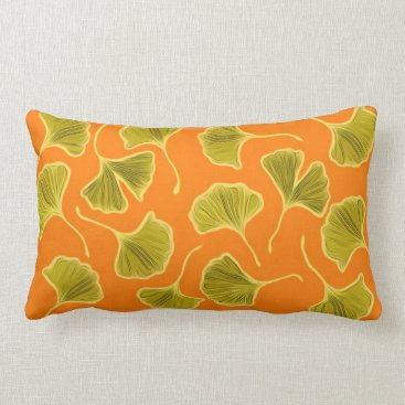 lauriekentdesigns Ginkgo Leaves on Bright Orange Lumbar Pillow