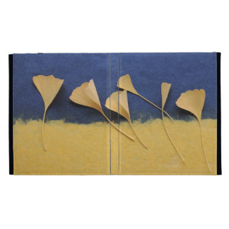 ginkgo leaves on handmade paper iPad folio case
