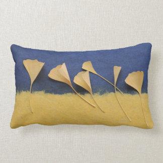 ginkgo leaves on handmade paper lumbar pillow