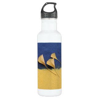 ginkgo leaves on handmade paper stainless steel water bottle