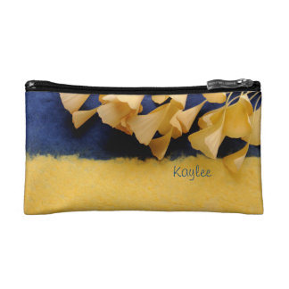 ginkgo leaves on texture cosmetic bag