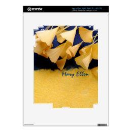 ginkgo leaves on texture iPad 3 skin