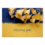 ginkgo leaves on texture missing you note card