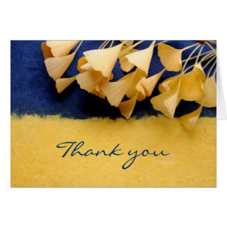 ginkgo leaves on texture thank you card