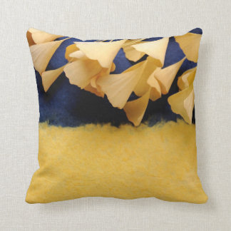 ginkgo leaves on texture throw pillow