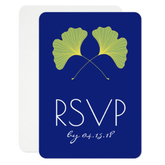 Ginkgo Leaves Spring Green RSVP Card