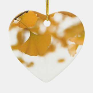 Ginkgo Double-Sided Heart Ceramic Christmas Ornament