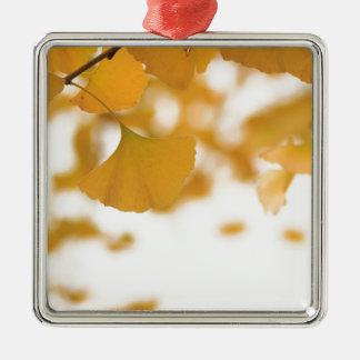 Ginkgo Square Metal Christmas Ornament