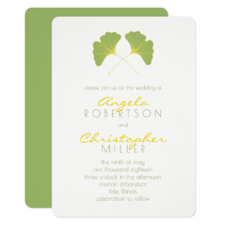 Ginkgo Spring Green Leaves Wedding 2 Card