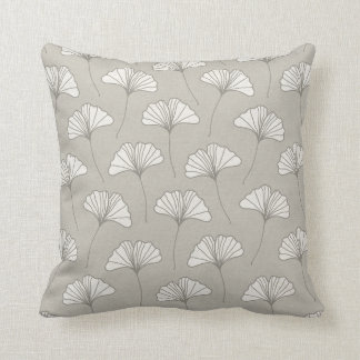 Ginkgo Tree Leaf Pattern Grey and white Throw Pillow