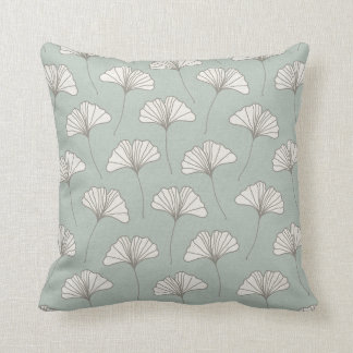 Ginkgo Tree Leaf Pattern Light Blue Grey and White Throw Pillow