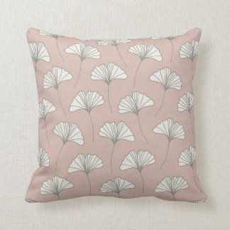Ginkgo Tree Leaf Pattern Pink Grey and White Throw Pillow