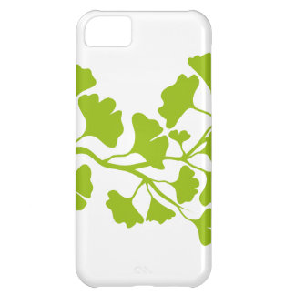 ginkgo tree silhouette with green leaves case for iPhone 5C