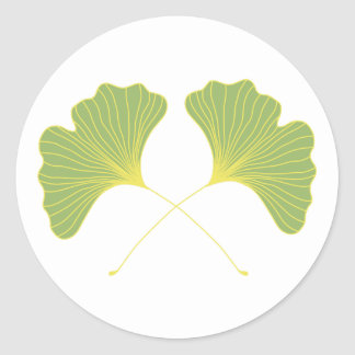 Ginkgo Tree Spring Green Leaves Classic Round Sticker