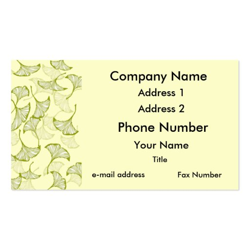 Ginkgo leaves double sided standard business cards pack for Leaf business cards