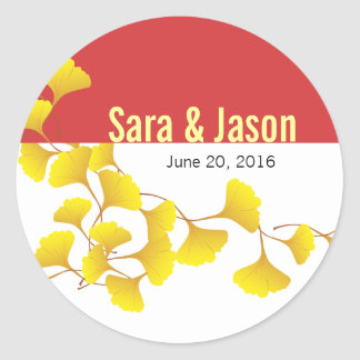 Ginko Leaves Wedding Label