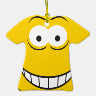 Ginning Yellow Smiley Face Christmas Ornament