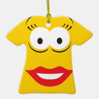 Ginning Yellow Smiley Face Lipstick Lady Girl Ornaments